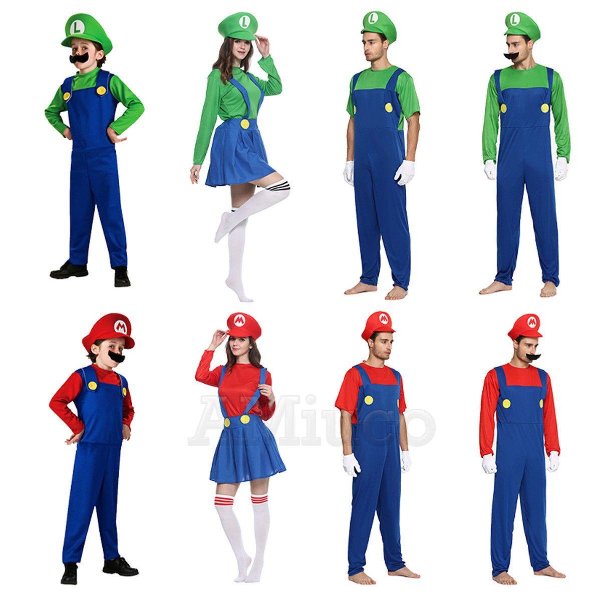 Mario /& Luigi Costumes Adult Kids Super Mario Bros Halloween Cosplay Fancy Dress
