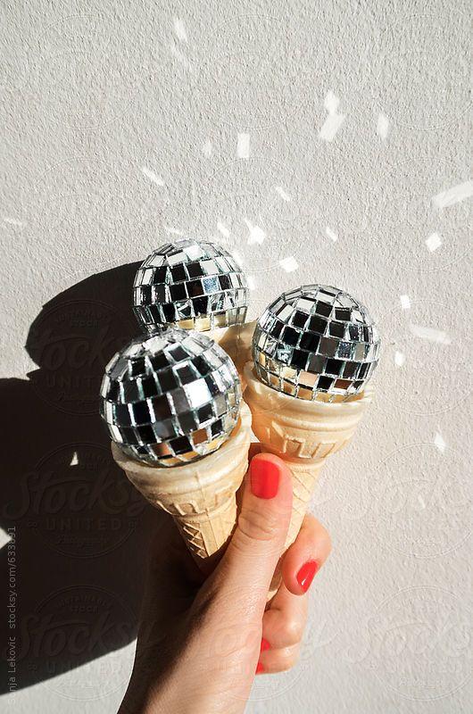 Sonja Lekovic Disco Ball Ice Cream Cone Disco Background