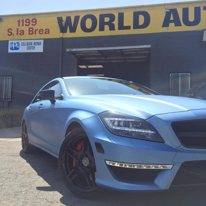 2013 Mercedes Benz CLS63 Frosty Blue Metallic Vinyl Wrap