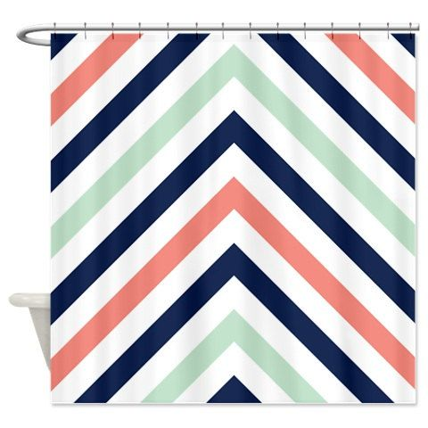 Chevron Curtain Modern Navy Mint Coral