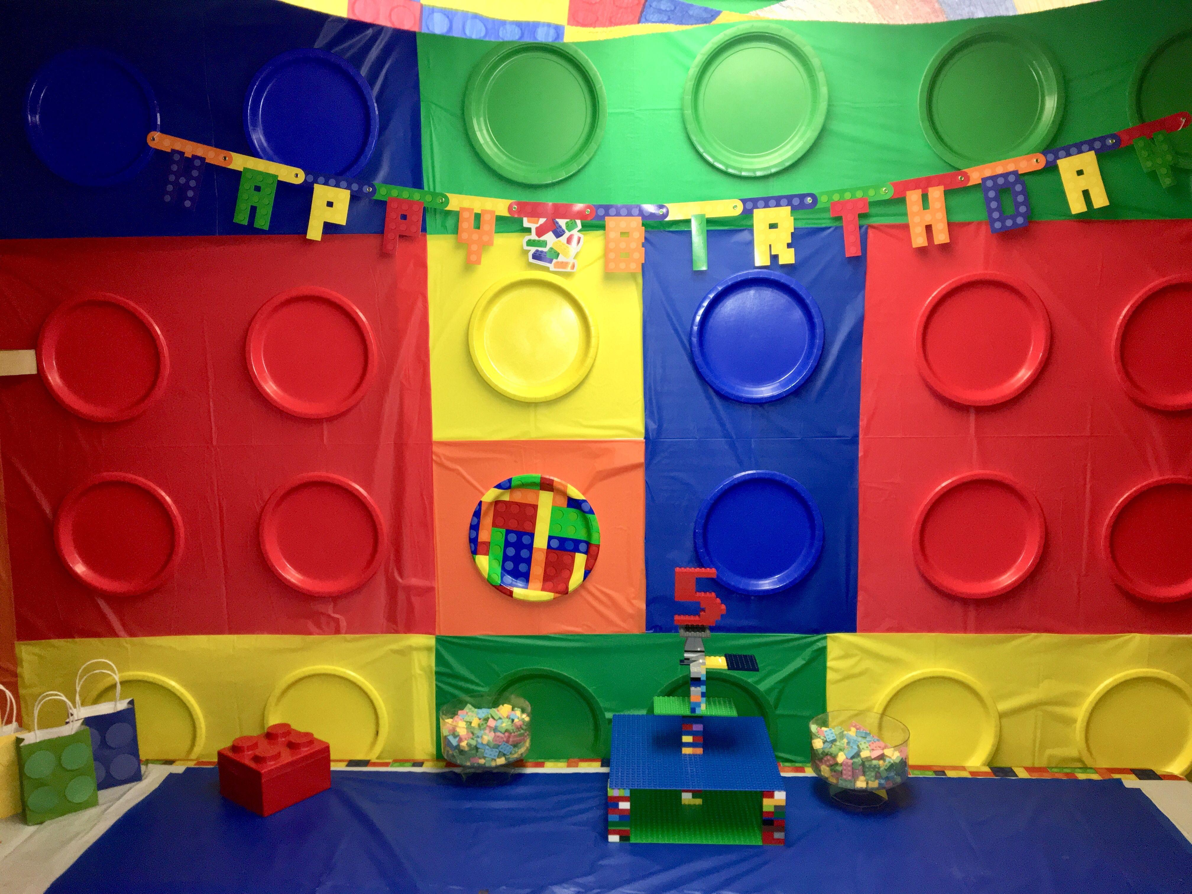 Diy Lego Boy Birthday Party Ideas Candy Cake Table Set Up Brick Wall Lego Birthday Party Lego Birthday Boy Birthday Parties