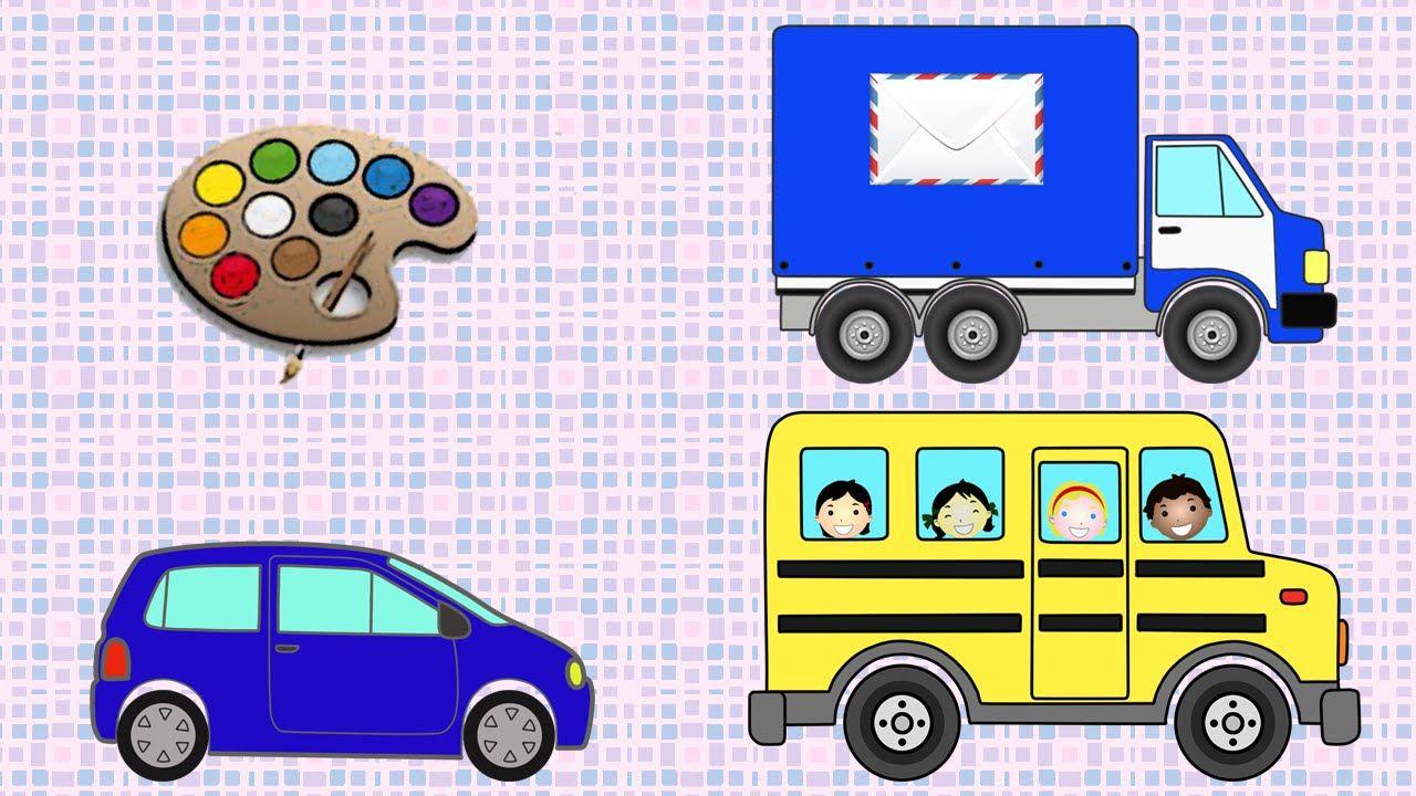 Раскраска. Легковая машинка, школьный автобус, почтовый ...