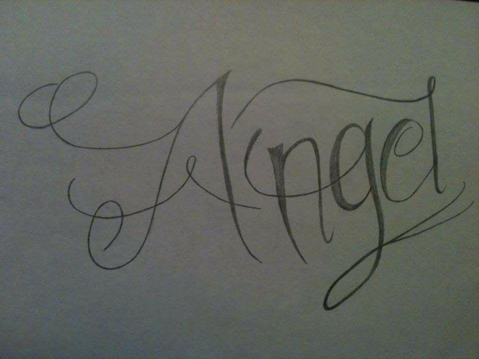 Dibujo Hecho A Lapiz Tatuaje Con El Nombre De Angel Arabic Calligraphy Calligraphy Art