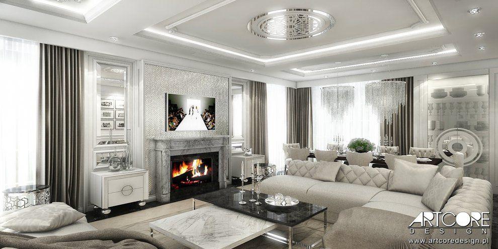Wnetrza Contemporary Classic Projekt Wnetrza Domu Aranzacja Wnetrz Luksusowego Salonu W Stylu Glam Luxury Interior Design Luxury Interior Interior Design