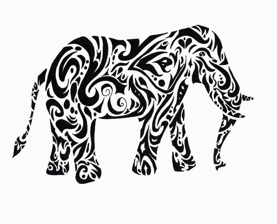 Tribal Elephant Tattoo Design By RaeiGardland On DeviantART