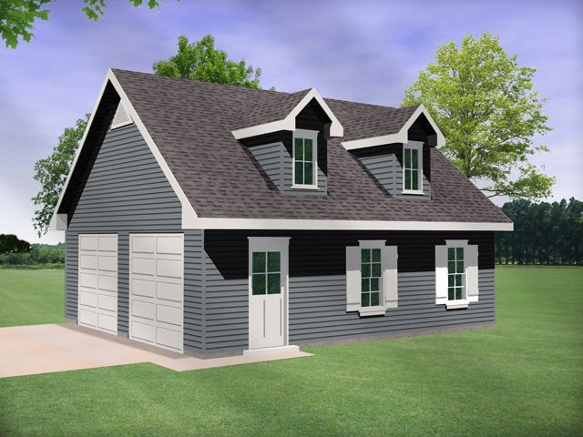 Two car garage with dormers hides a garage large enough for an auto – Just Garage Plans