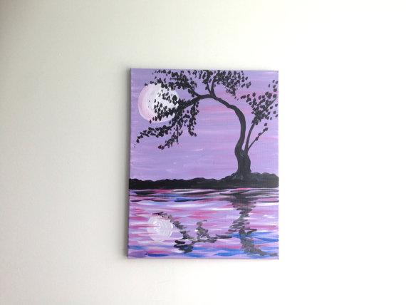 Purple Moonlight Painting Art Tree Water Sunset Ref