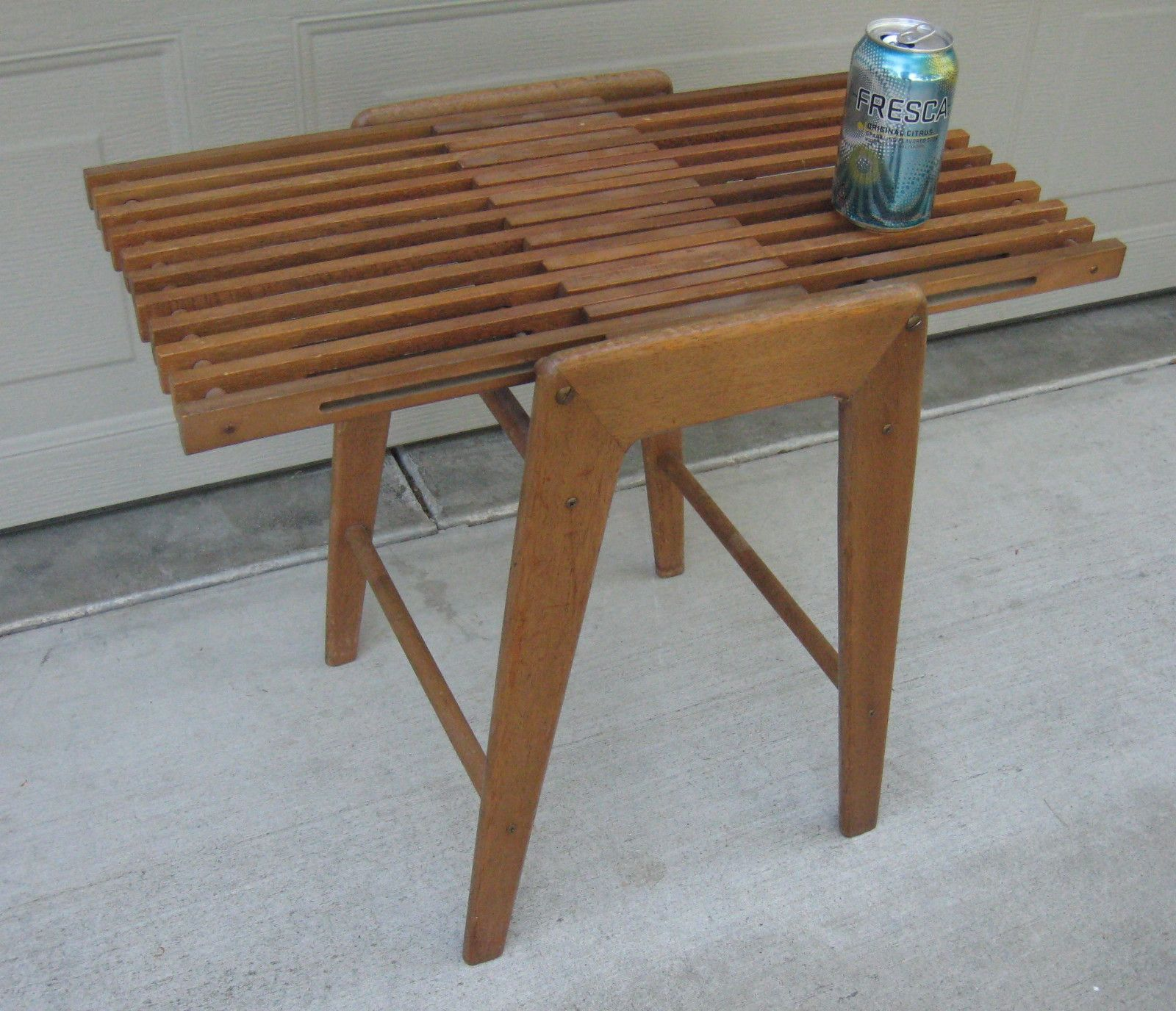 Mid Century Solid Wood Small Platform Slat Bench Or Coffee: Danish Modern Slat Table Bench Magazine Rack Japan Mid