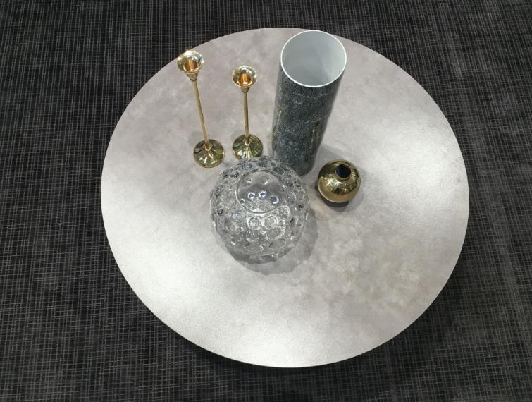 Table Basse Round Plateau Extensible En Céramique Et Verre