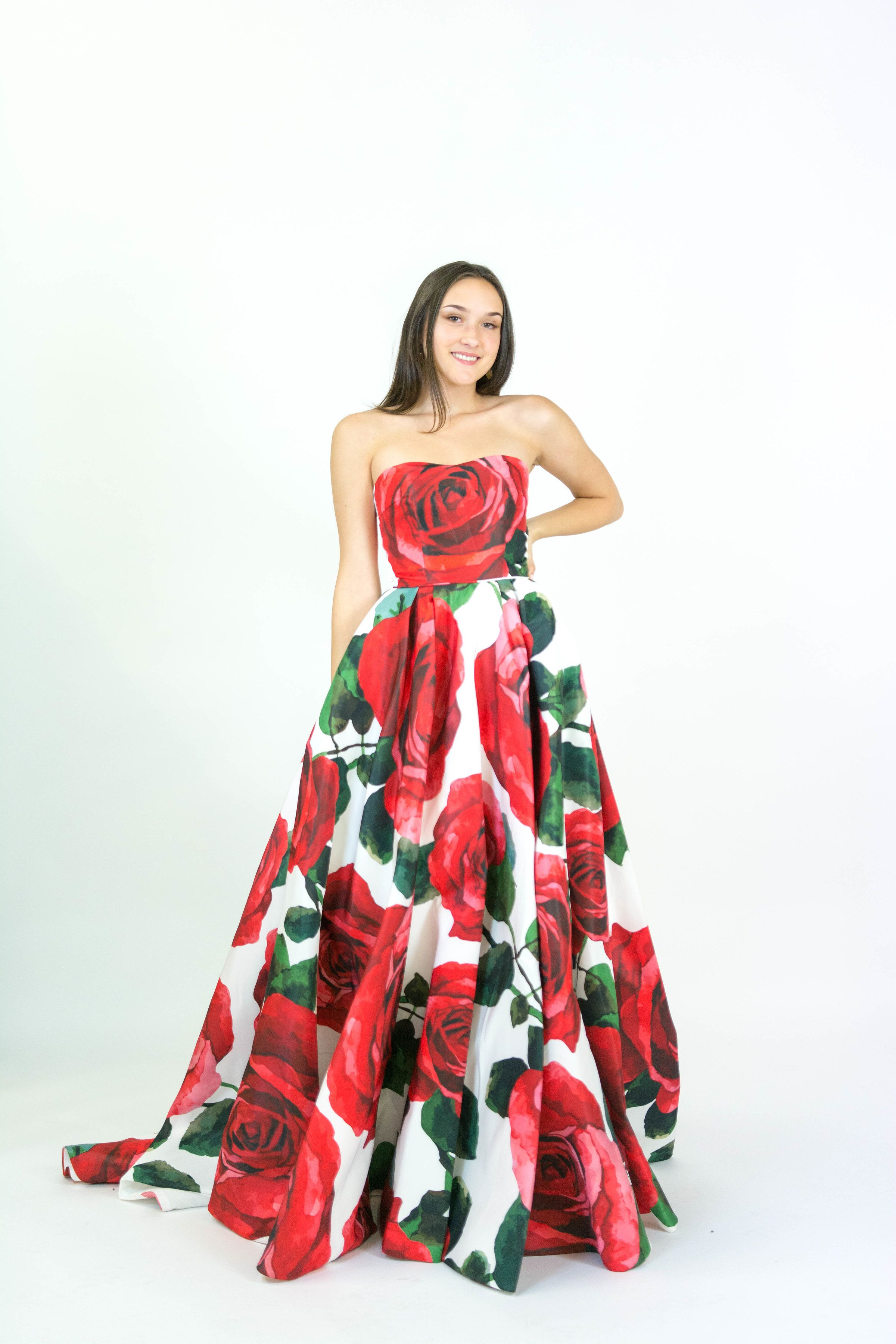 1ab4ced6f6a Sherri Hill Spring 2018 Collection Giant Red Rose Floral Print Ballgown  Strapless Style Ypsilon Dresses Pageant Prom Evening Gown Runway Formal  Special ...