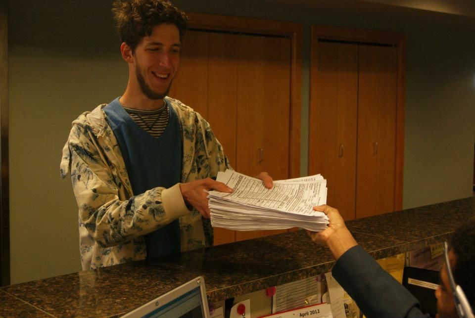 Arthur Kohl-Riggs delivering his nomination papers to the GAB on 4/10/12.