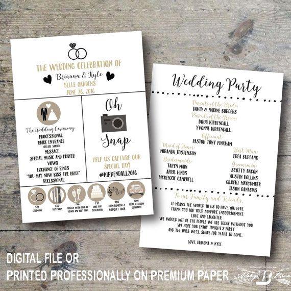 Wedding Program Printed Wedding Program Printable Digital File