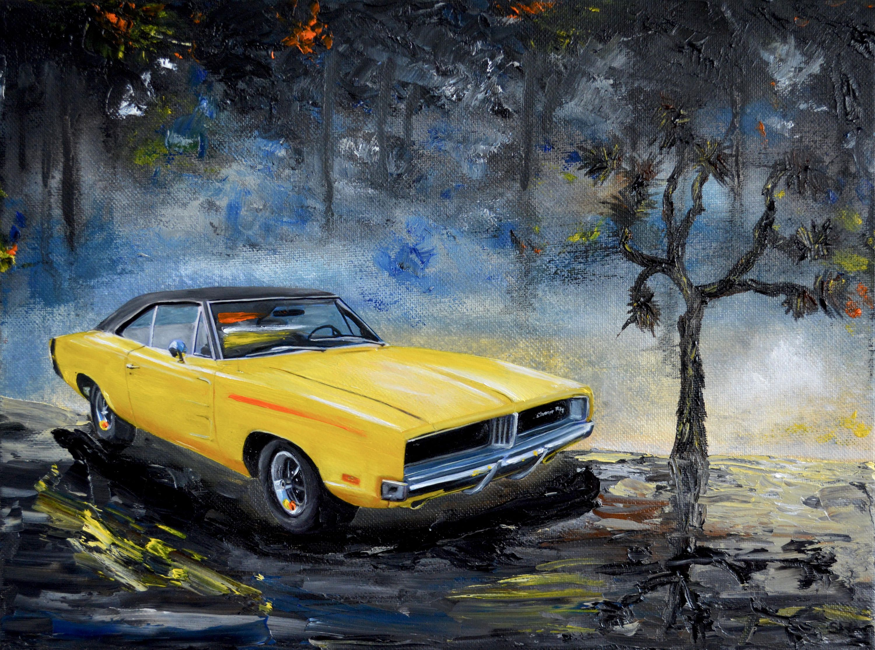 Yellow 1960 S Dodge Charger Original Oil Painting Dodge Etsy Dodge Charger Old Classic Cars Classic Cars
