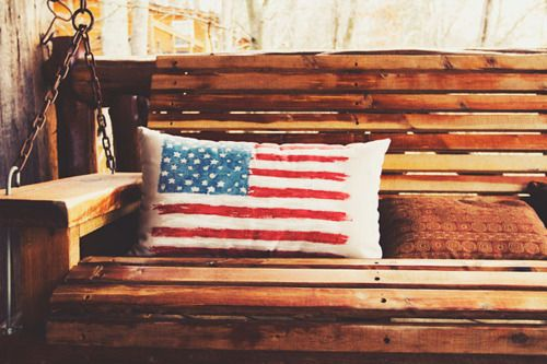 Flag Pillow On The Front Porch Swing Porch Swing Front Porch Swing Pillows