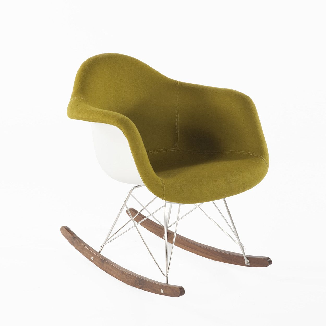 Mid Century Modern Reproduction RAR Molded Fiberglass Rocking Chair   Olive  Inspired By Charles And