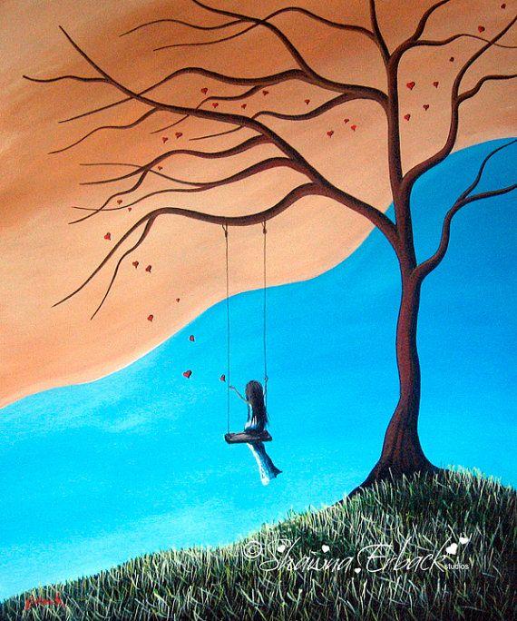 Pretty Landscape FINE ART PRINT girl on swing love hearts by Shawna Erback
