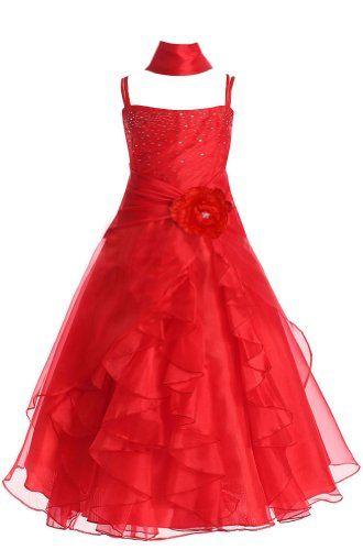 Amj Dresses Inc Girls Red Flower Girl Formal Dress Size 6 Amj