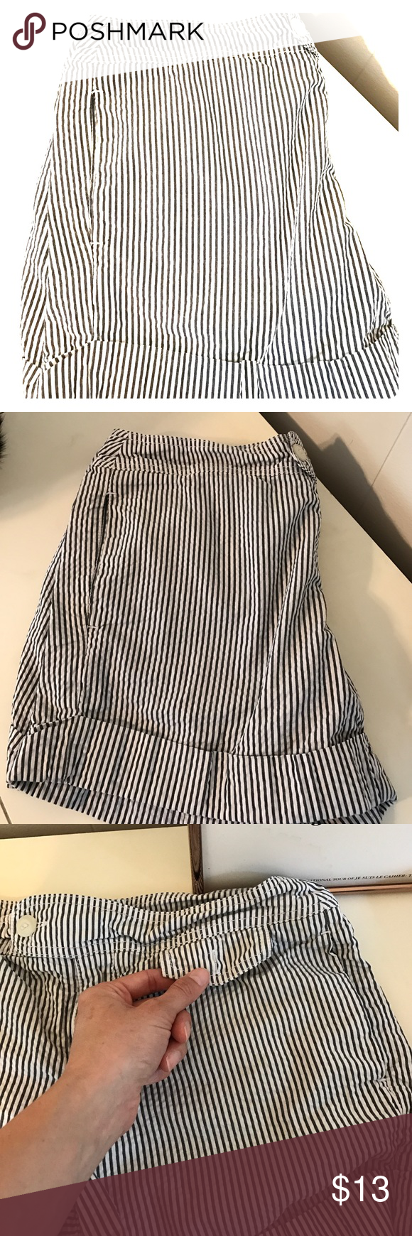 🌷SALE🌷Tommy Hilfiger seersucker shorts Tommy Hilfiger seersucker shorts with gray stripes. Very cute and classic look, and extra comfy. Good condition, missing button on front flap of little pocket...easy fix! Tommy Hilfiger Shorts