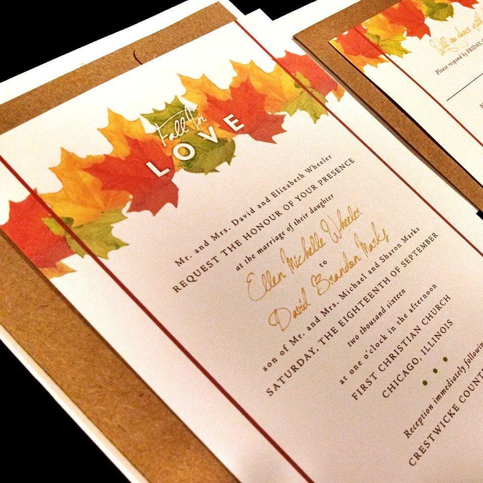 Fall In Love Watercolor Fall Leaves Leaf Monogram Custom Wedding ...