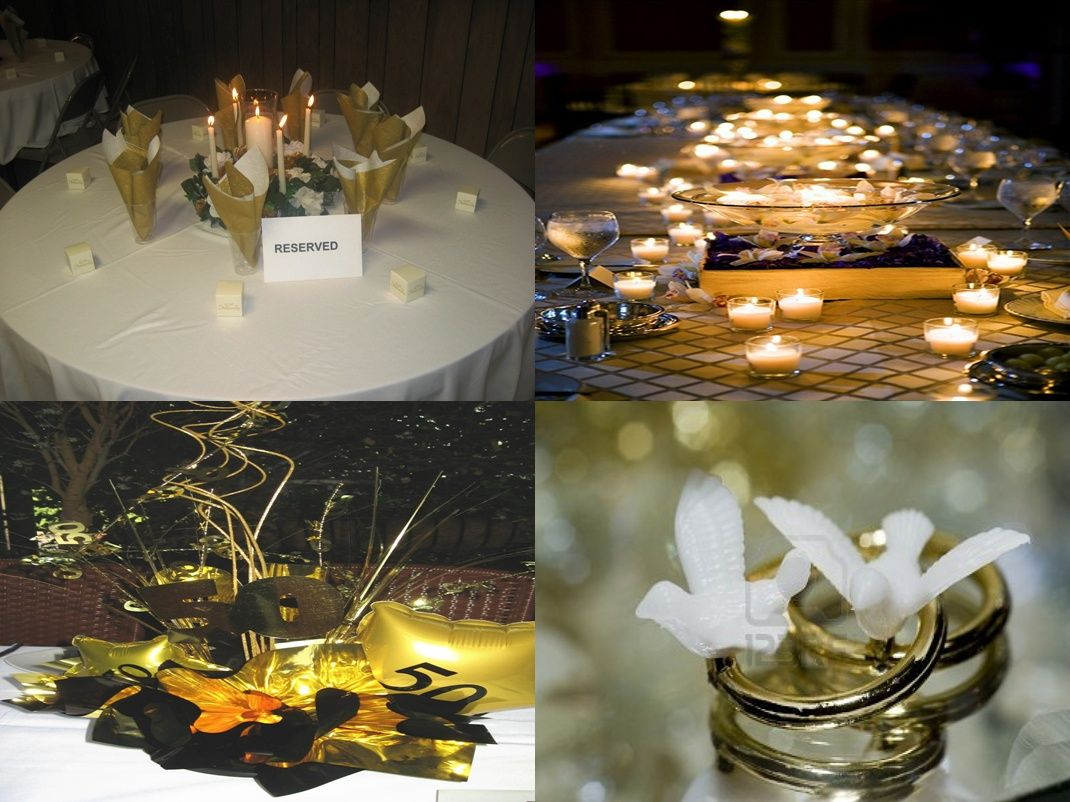 50th wedding anniversary decorations go for a gold time for 50s wedding decoration ideas