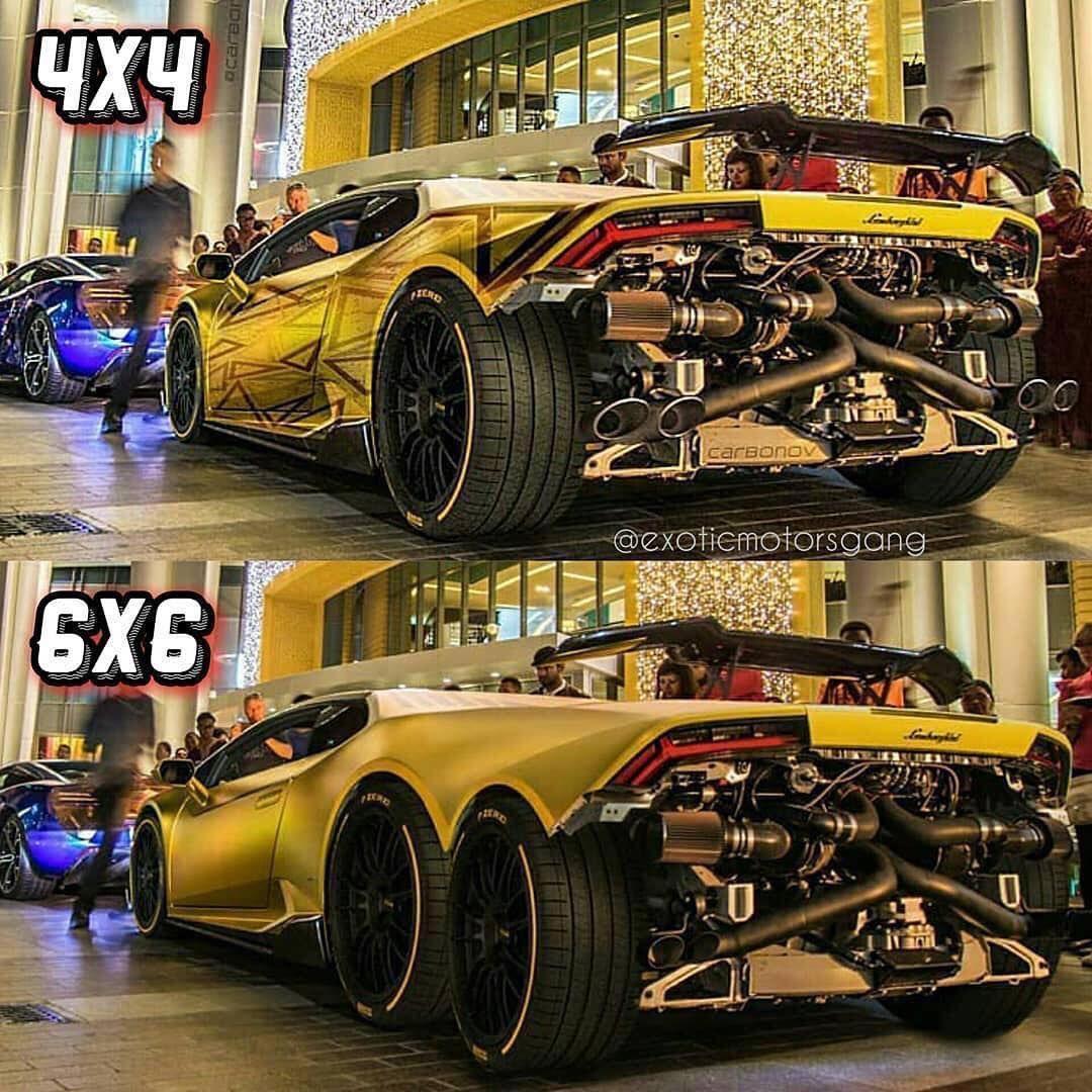 Ferrari 4x4: Yellow Lamborghini 4x4 VS 6x6! #supercars #lamborghini