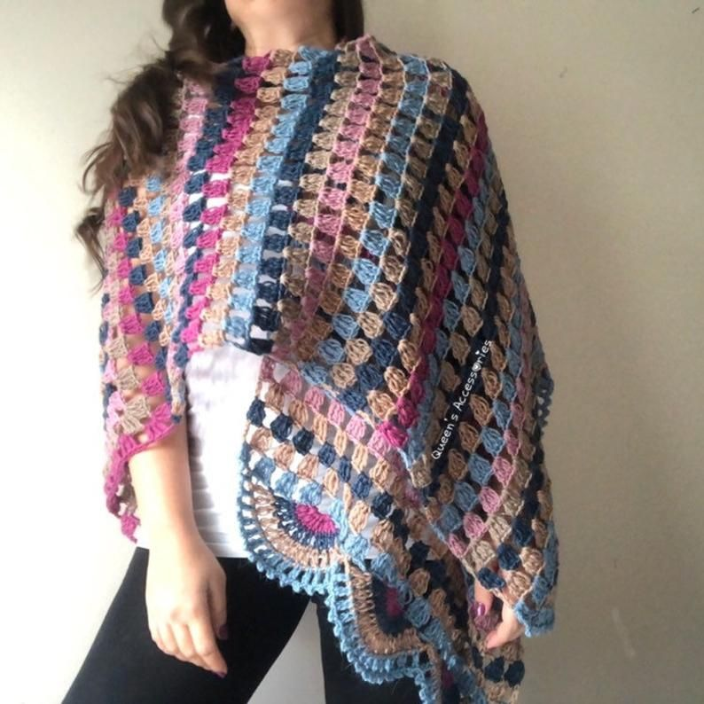 Crochet Flower Granny Square Shawl Poncho Pink, Blue, Cream Rainbow Shawl, Handmade, Oversized Shawl