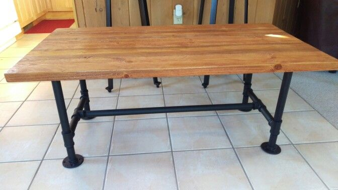 Custom rustic coffee table with iron legs