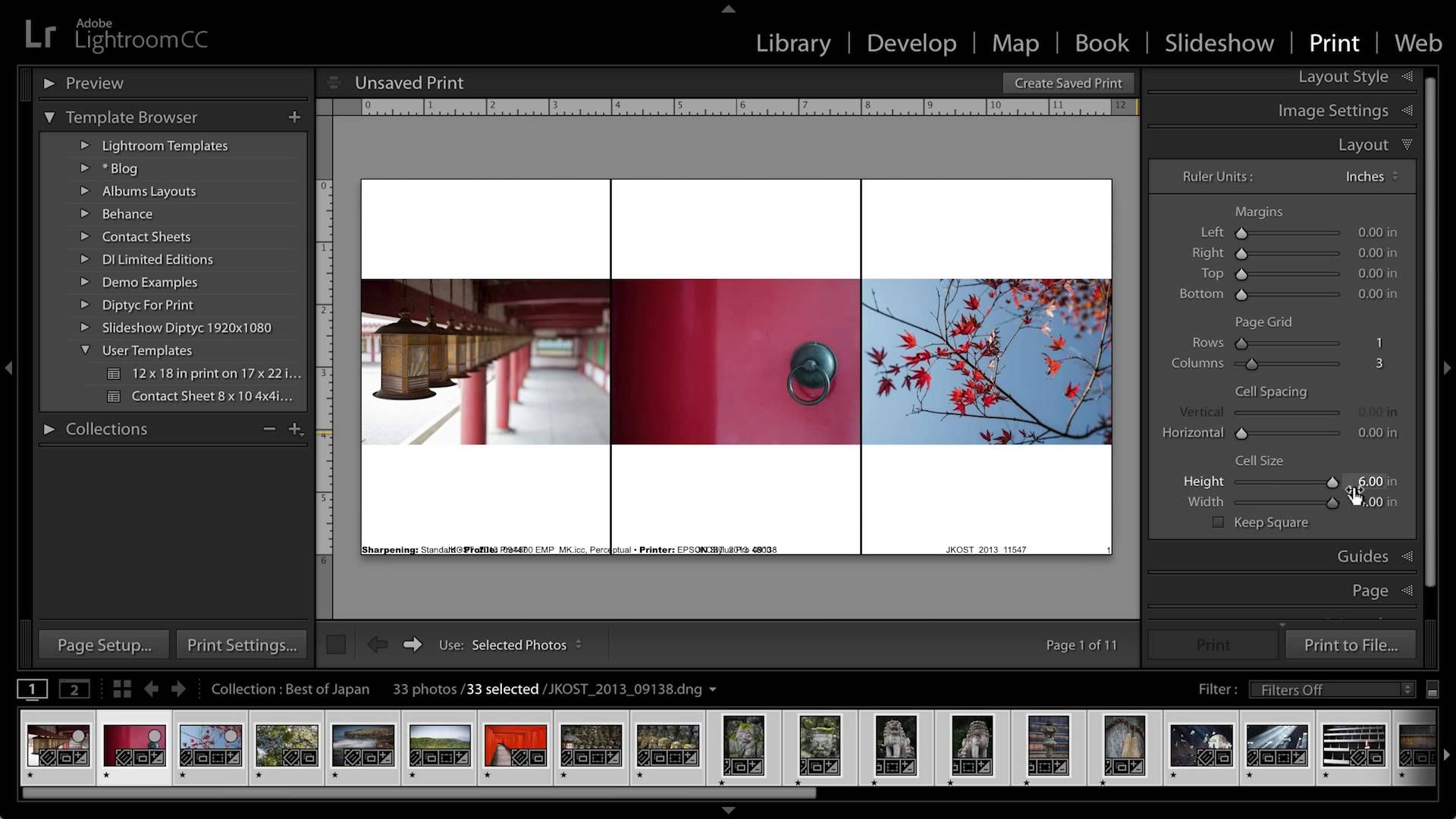 Printing Multiple Images to a Single JPEG in Lightroom