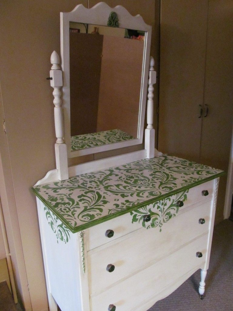 Antique Dresser With Mirror Upcycled With New Hardware