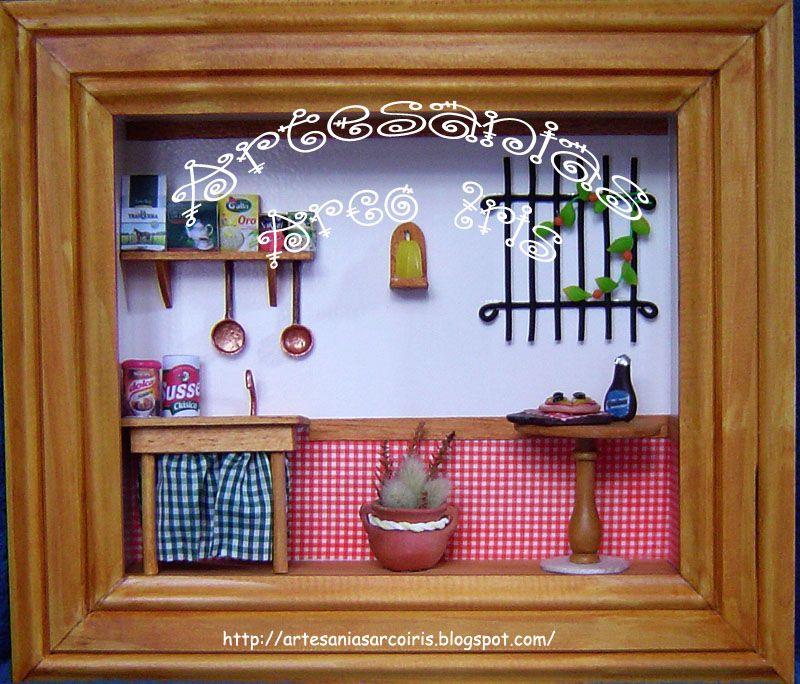 Cuadro con miniaturas cocina de campo cuadros con - Cuadros de cocina ...