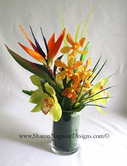 Bird Of Paradise And Orchids Centerpiece