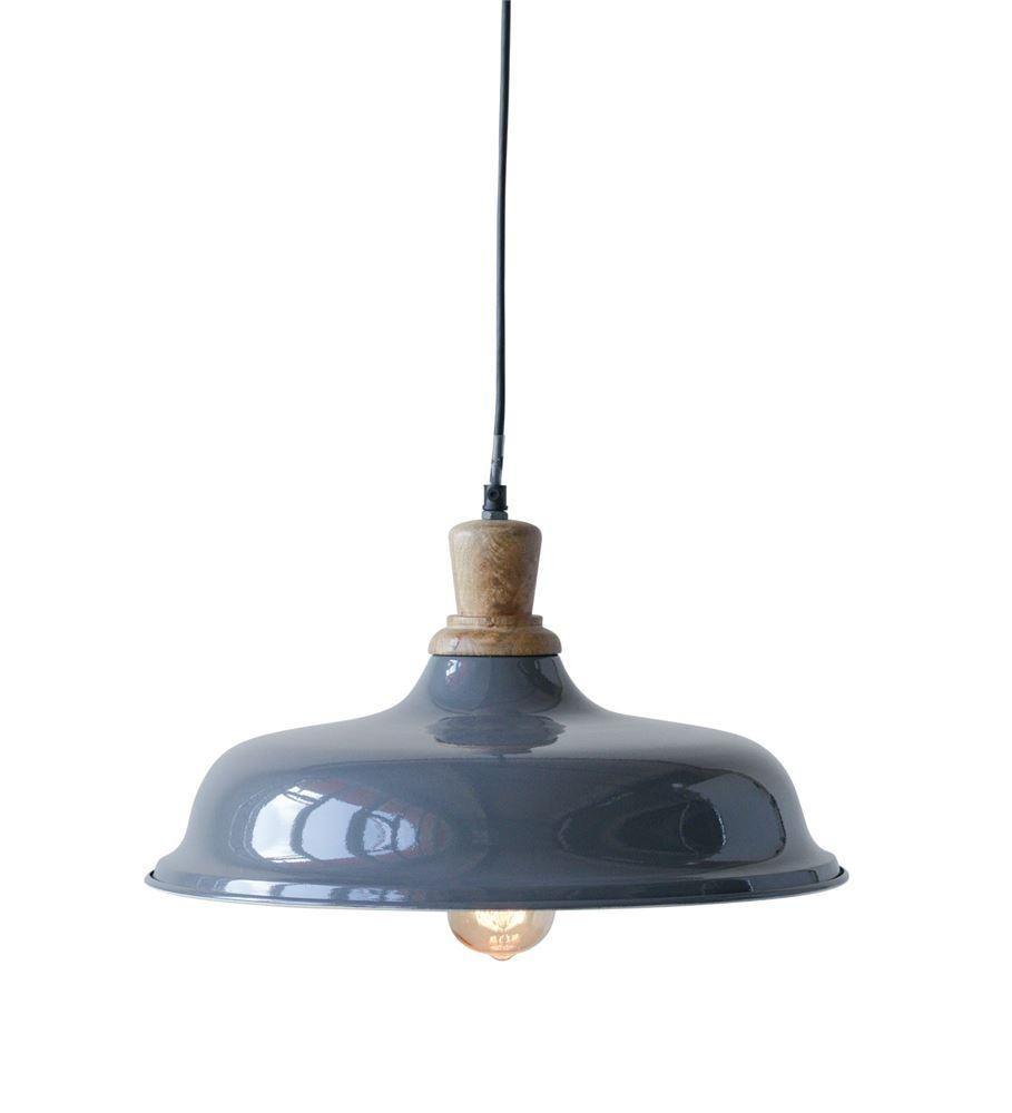 Vintage Barn Style Metal And Wood Pendant Light