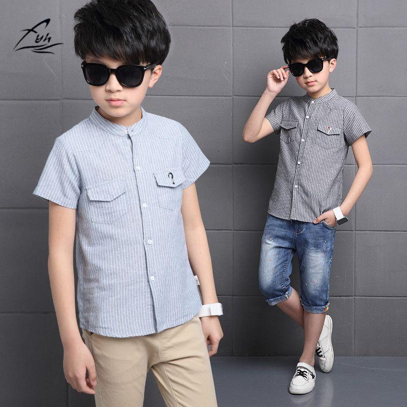 FYH Boys Clothing New Summer Boys Cotton Shirts Striped Kids Short Sleeve Shirt  Boys Blouses Casual School Boys Shirt Summe…   Boys shirts, Summer boy,  Cotton shirt