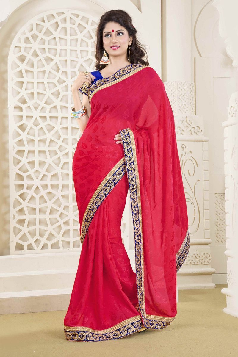 Red Jacquard Party Wear Saree