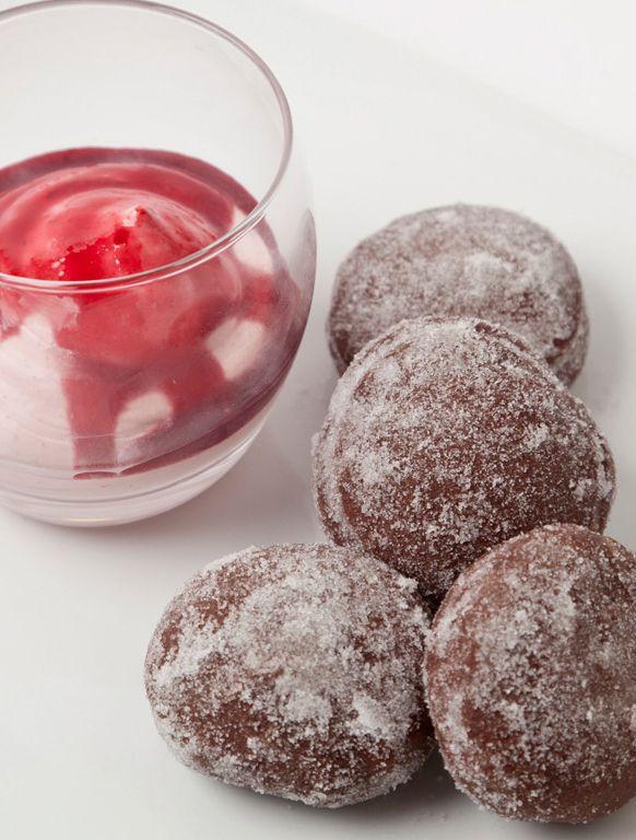 Warm chocolate doughnuts with a damson fool