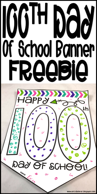 Happy 100th Day Of School Banner Freebie Color In 100 Things