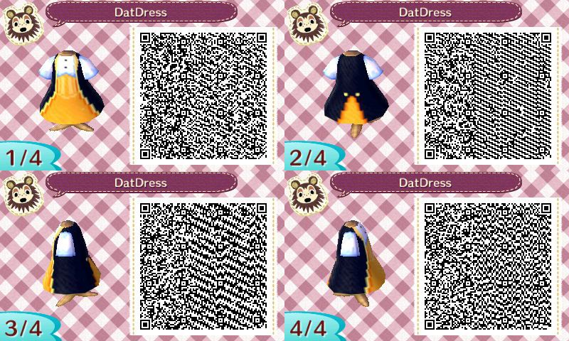 Gold dress with blue coat Qr codes animal crossing