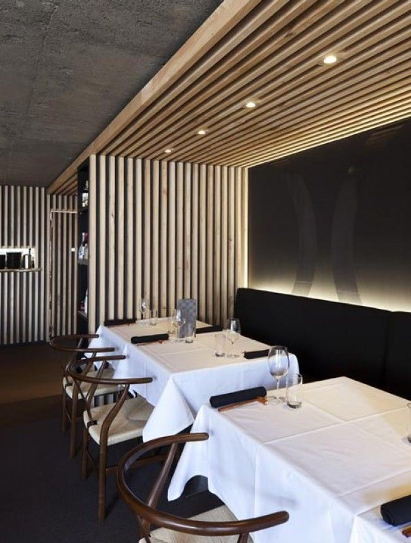 Luxury wooden restaurant interior decorating design