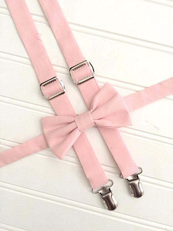 94cbc52276cd David's Bridal Blush Suspenders and Bow Tie - light pink suspenders and bow  tie - pale pink bow tie