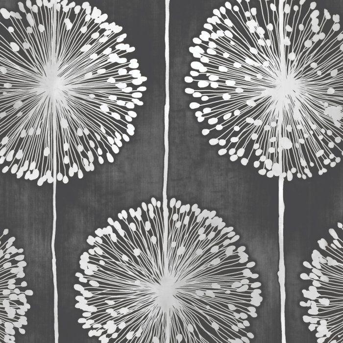 Muriva Dandelion Floral Wallpaper Black Grey J04219