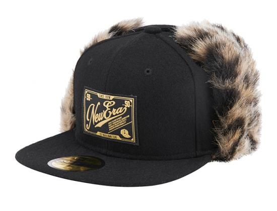 Patch Pattern Dog Ear Fur Black 59Fifty Fitted Baseball Cap by NEW ERA