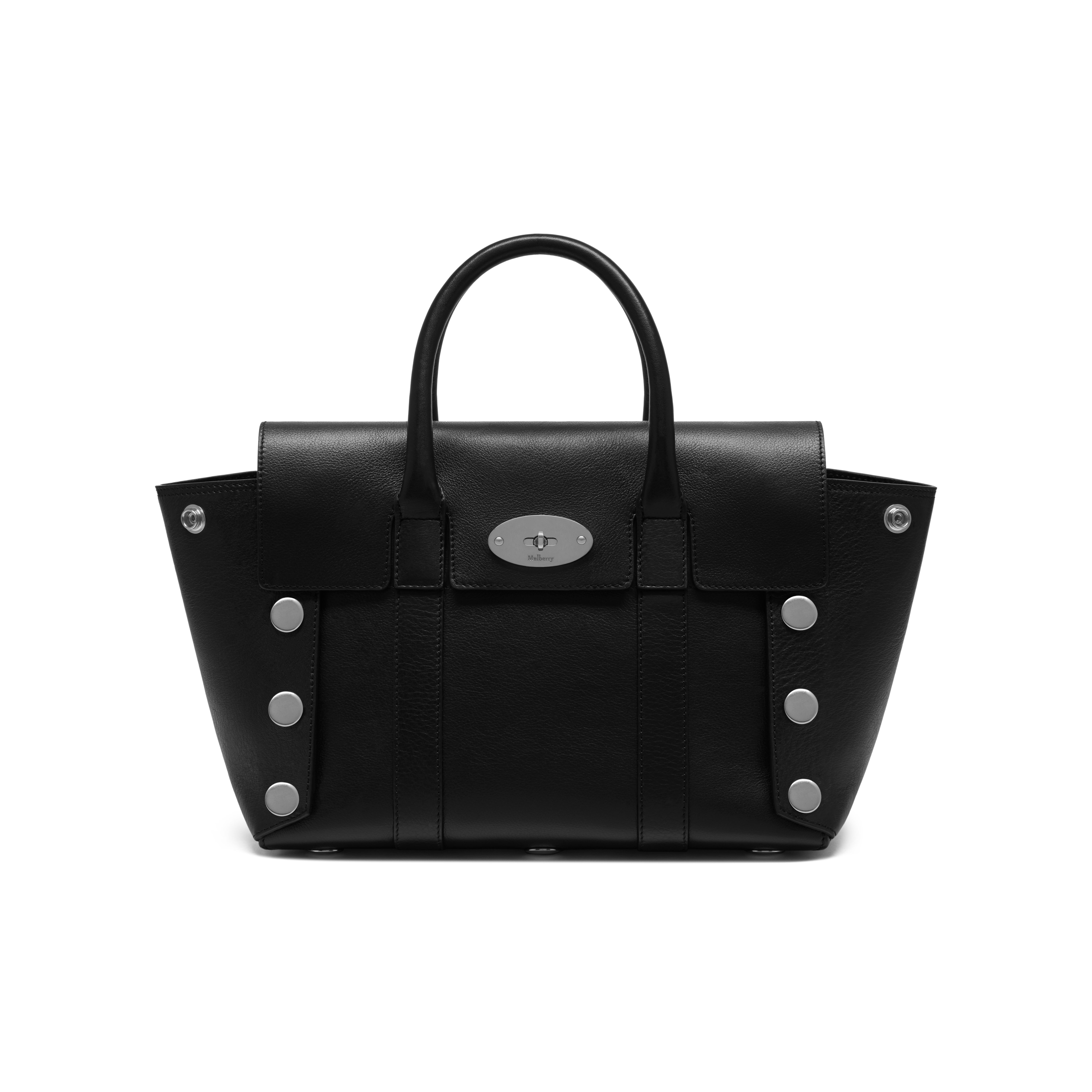 c179ceef32 Mulberry - Small New Bayswater in Black Smooth Calf with Studs ...