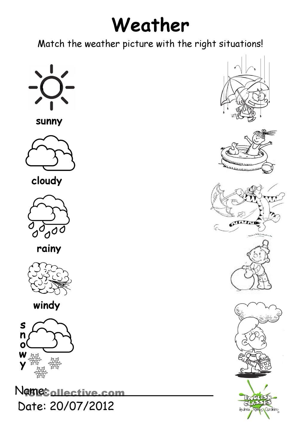 Weather match Weather worksheets, Weather for kids