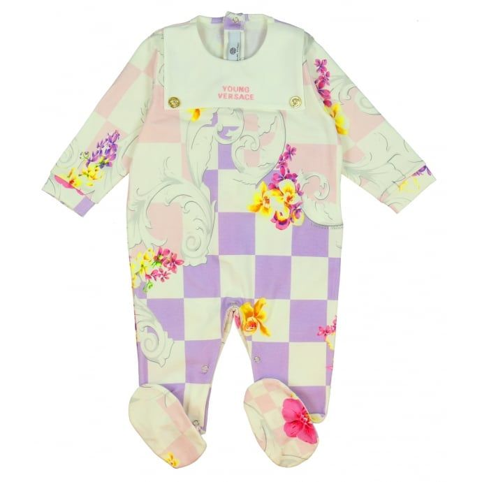 9a346656c8a Young Versace Baby Girls Purple Checked Baby Grow with Floral Print ...