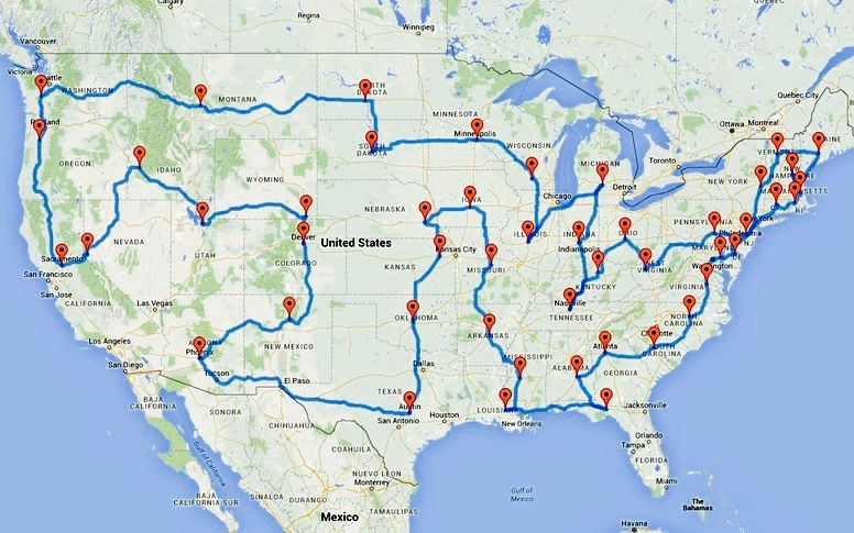 us road trip as reported in the washington post self proclaimed data tinkerer randy olson has devised the quickest way to visit all 48 us states
