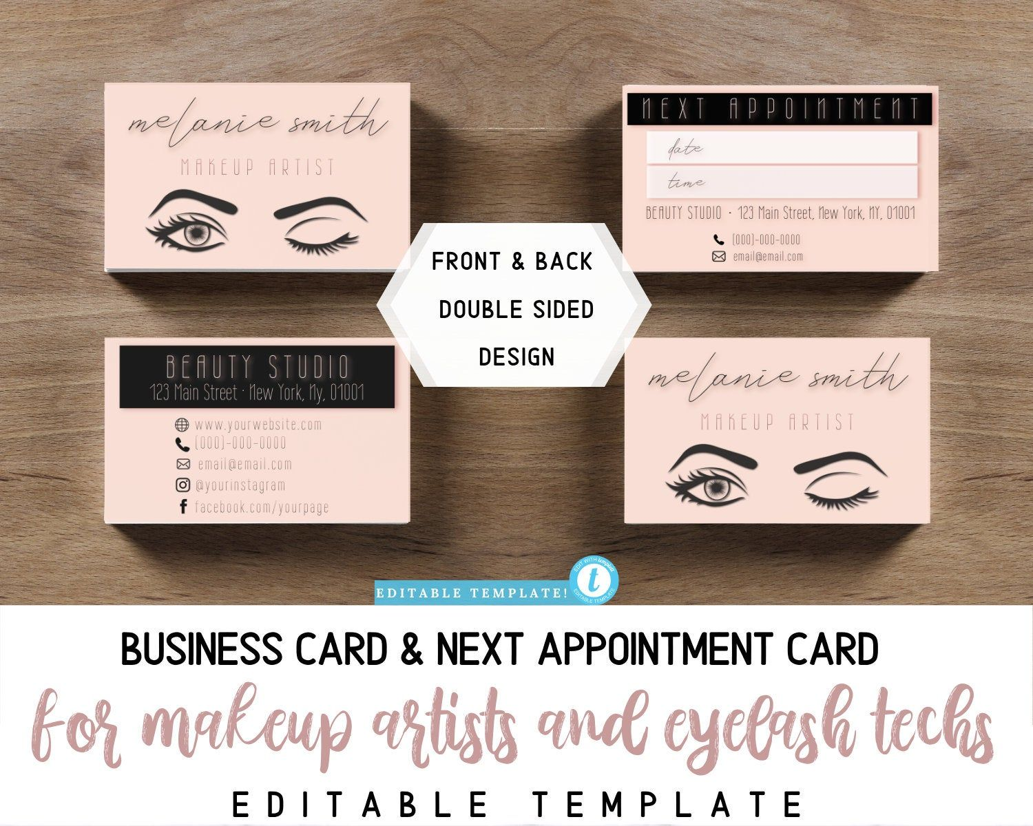 Custom business card next appointment card for makeup
