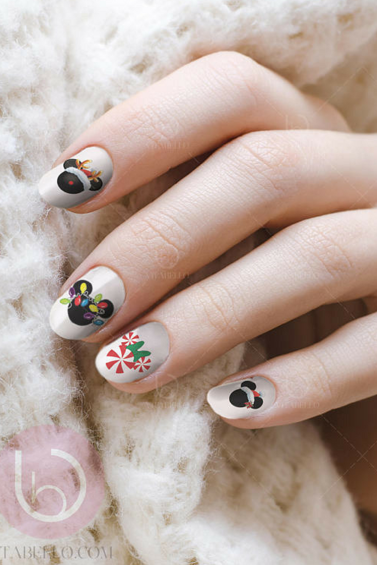 239 disney christmas mickey water nail decal nail design nails press on - Disney Christmas Nails