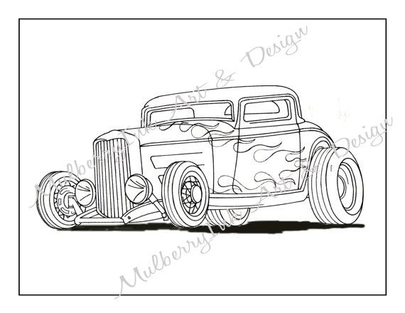 Coloring Page Classic Car Hot Rod Adult Cars Book Kids