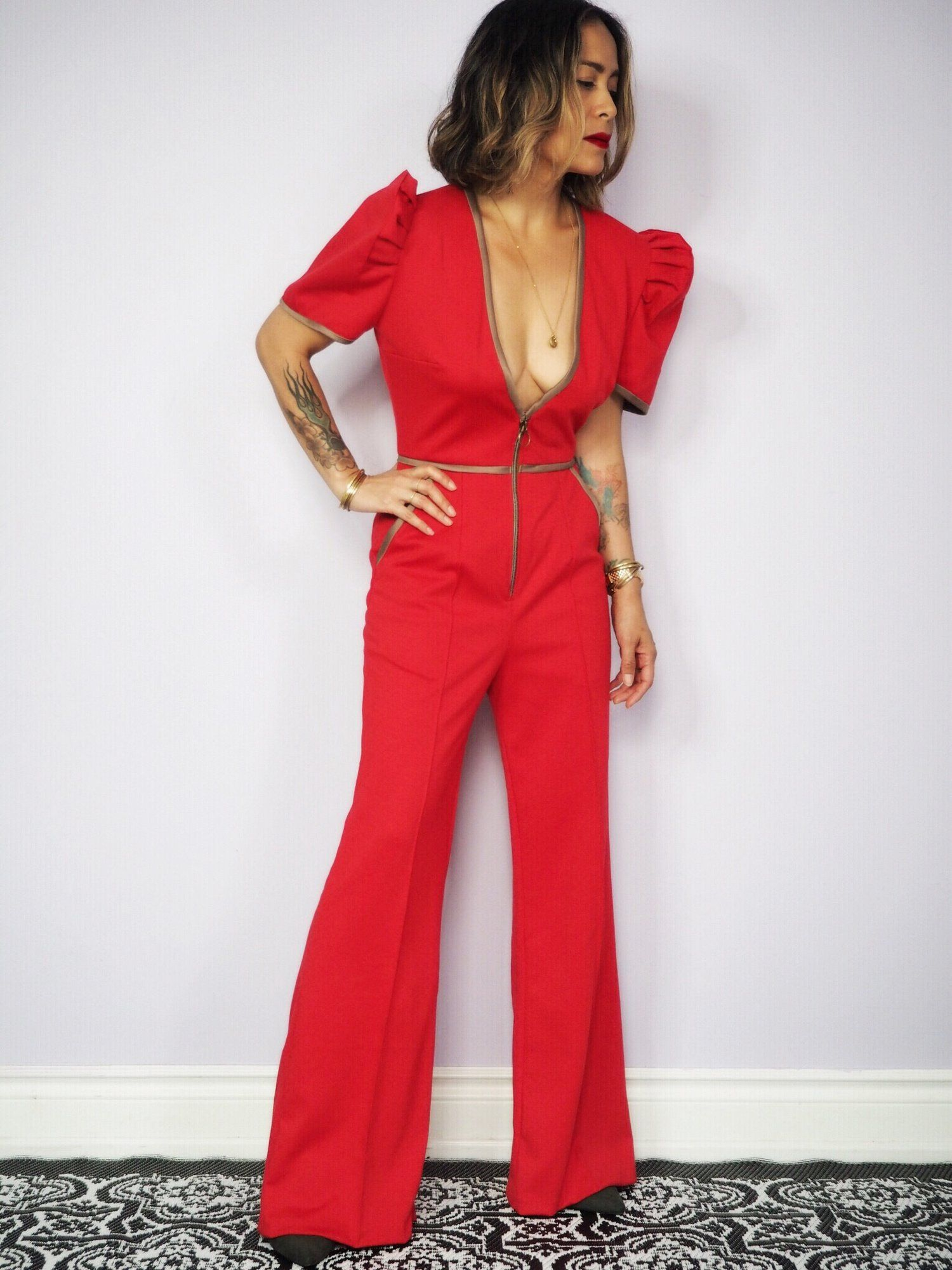 e23a60f815 VINTAGallery  TernoJumpsuit - jumpsuit with butterfly sleeves! V Cuts