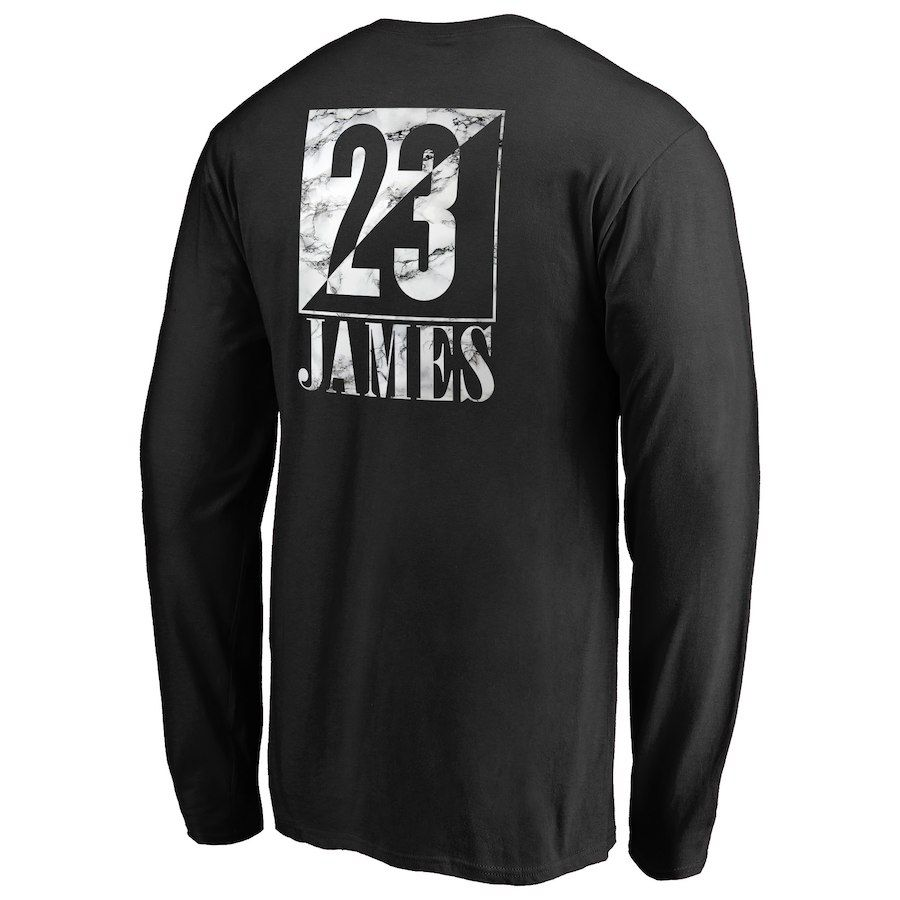 9caf68b51 Men's Los Angeles Lakers LeBron James Fanatics Branded Black Yin & Yang Name  & Number Long Sleeve T-Shirt